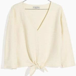 Madewell Texture & Thread Off-White Tie Front Top